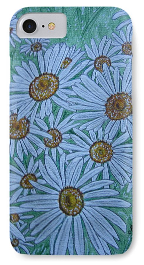 Field IPhone 7 Case featuring the painting Field Of Wild Daisies by Kathy Marrs Chandler