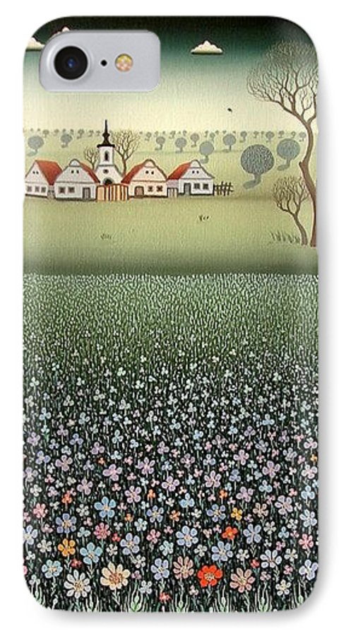 Landscape IPhone 7 Case featuring the painting Field Of Wildflowers by Ferenc Pataki