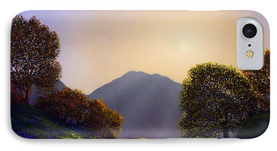 Landscape IPhone 7 Case featuring the painting Field Of Wildflowers by Frank Wilson