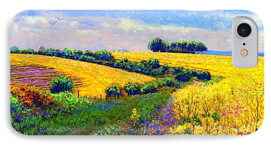 Sun IPhone 7 Case featuring the painting Fields Of Gold by Jane Small