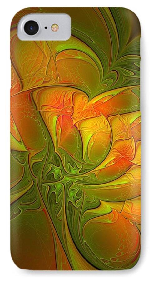 Digital Art IPhone 7 Case featuring the digital art Fiery Glow by Amanda Moore