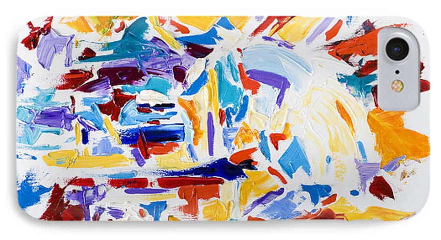 Abstract Yellow IPhone 7 Case featuring the painting Fiesta by Shannon Grissom