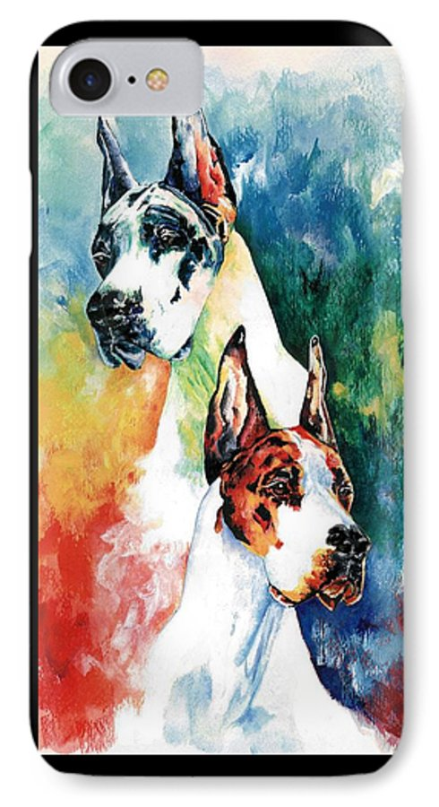 Great Dane IPhone 7 Case featuring the painting Fire And Ice by Kathleen Sepulveda