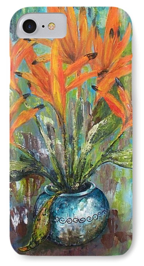 IPhone 7 Case featuring the painting Fire Flowers by Carol P Kingsley