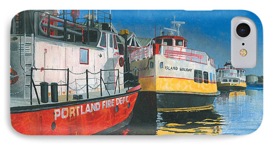 Fireboat IPhone 7 Case featuring the painting Fireboat And Ferries by Dominic White