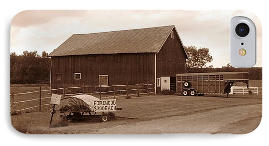 Barn IPhone 7 Case featuring the photograph Firewood For Sale by Rhonda Barrett