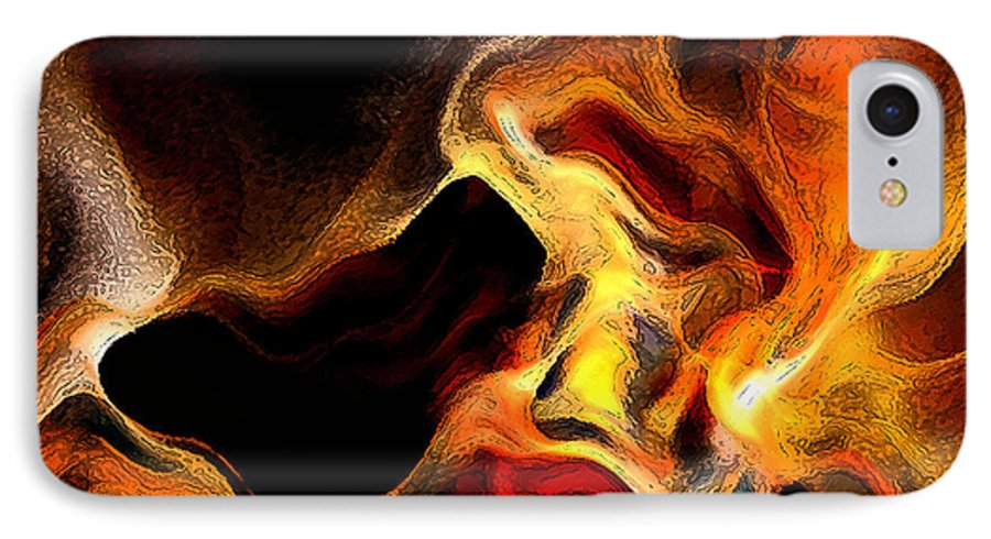 Abstract IPhone 7 Case featuring the digital art Firey by Ruth Palmer