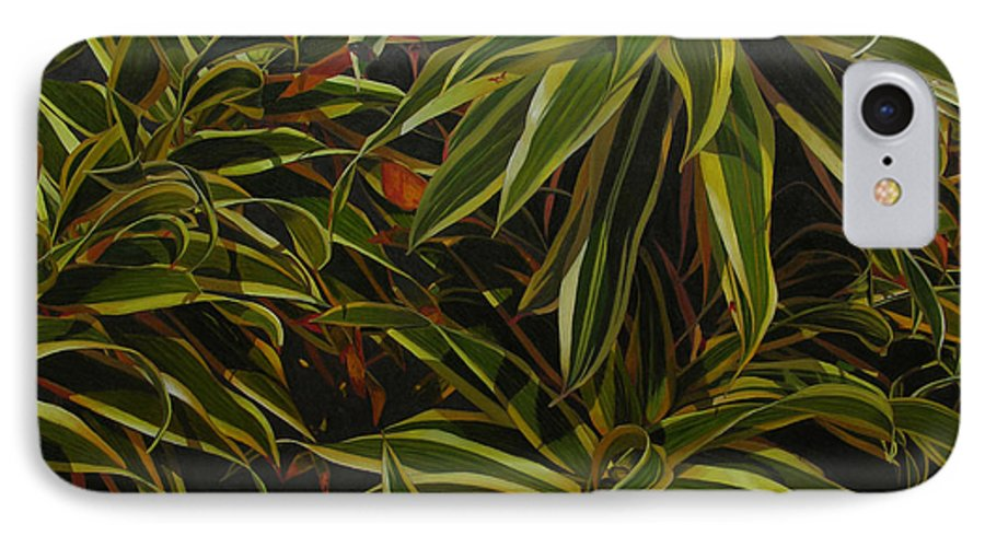 Leaves IPhone 7 Case featuring the painting First In Cabot by Thu Nguyen