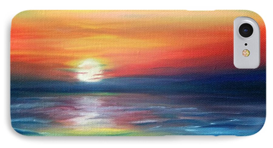 Sunrise IPhone 7 Case featuring the painting First Light by Lora Duguay