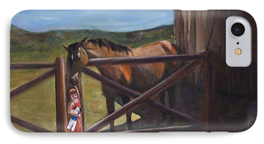 Horse IPhone 7 Case featuring the painting First Love by Darla Joy Johnson