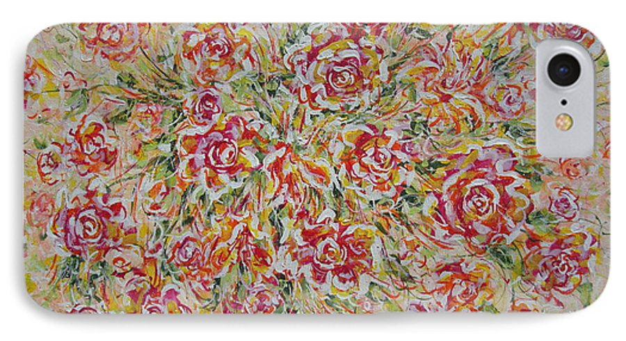 Flowers. Floral IPhone 7 Case featuring the painting First Love Flowers by Natalie Holland