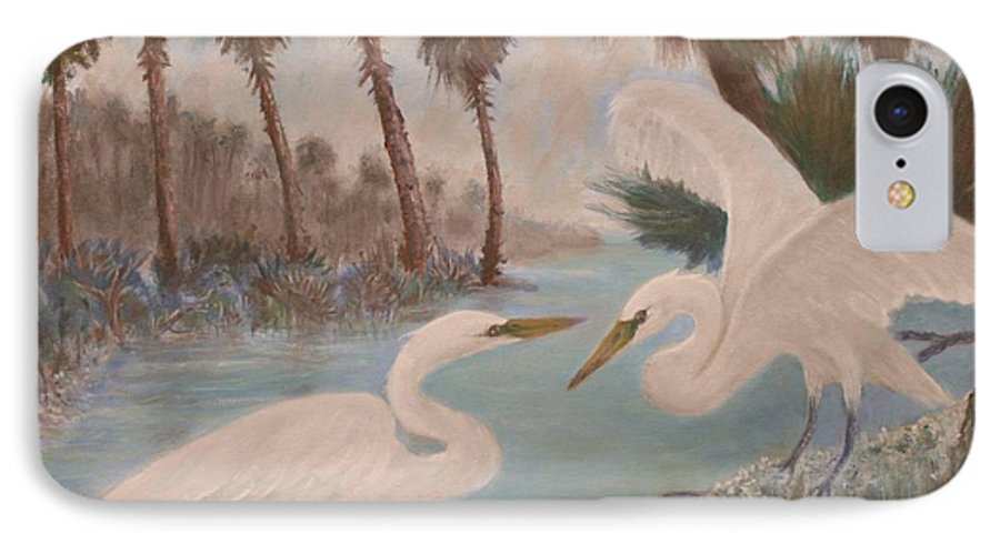 Egret IPhone 7 Case featuring the painting First Meeting by Ben Kiger