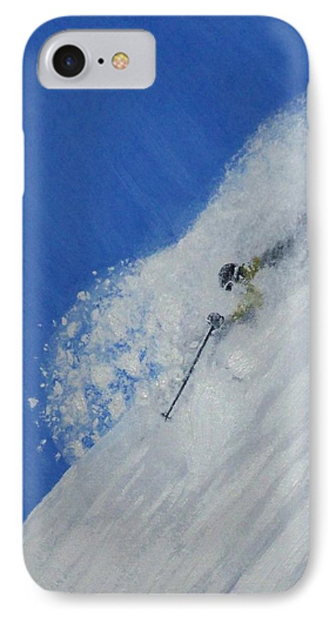 Ski IPhone 7 Case featuring the painting First by Michael Cuozzo