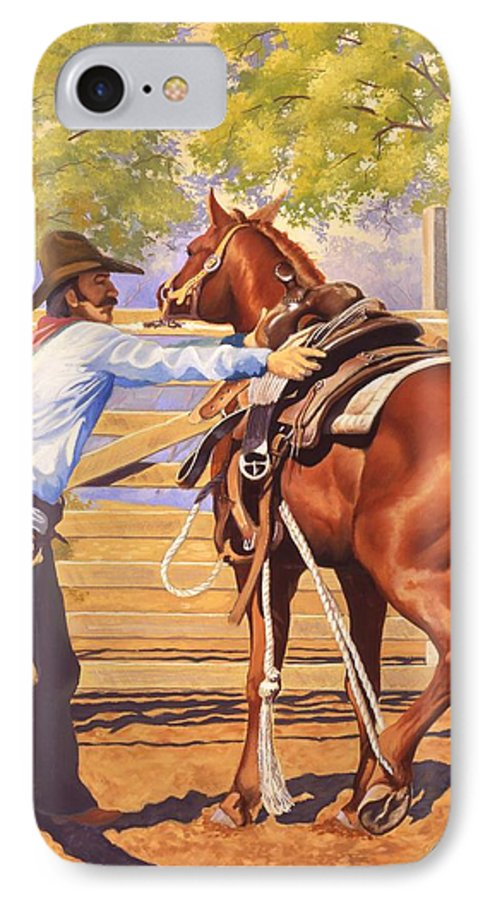 Cowboy IPhone 7 Case featuring the painting First Saddling by Howard Dubois
