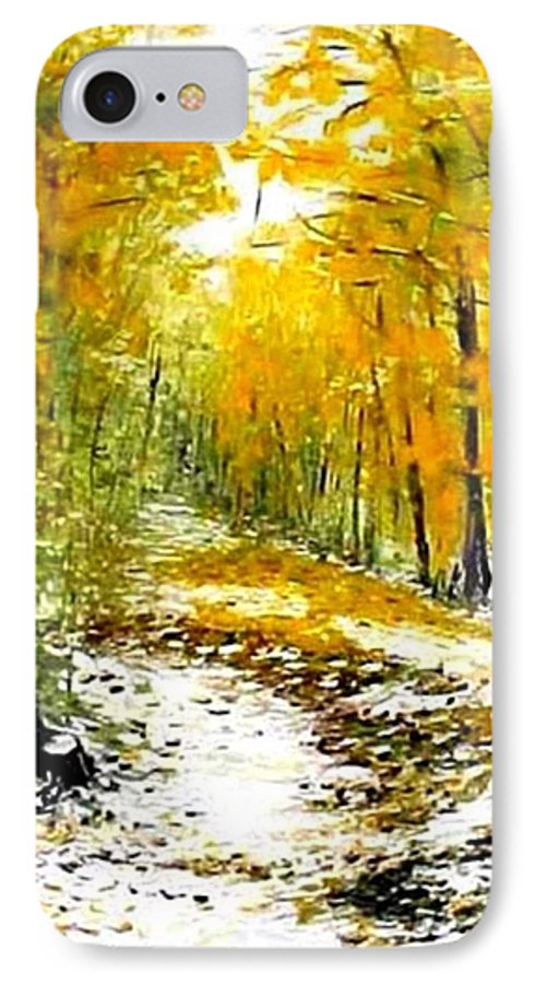 Landscape IPhone 7 Case featuring the painting First Snow by Boris Garibyan