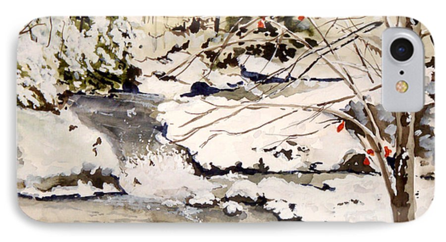 Winter Scene IPhone 7 Case featuring the painting First Snowfall by Jean Blackmer