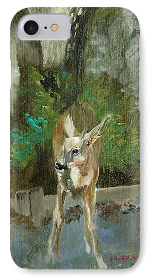 Deer IPhone 7 Case featuring the painting First Young Buck Pad by Eileen Hale