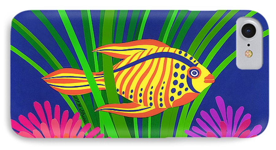 Nature IPhone 7 Case featuring the drawing Fish by Lucyna A M Green