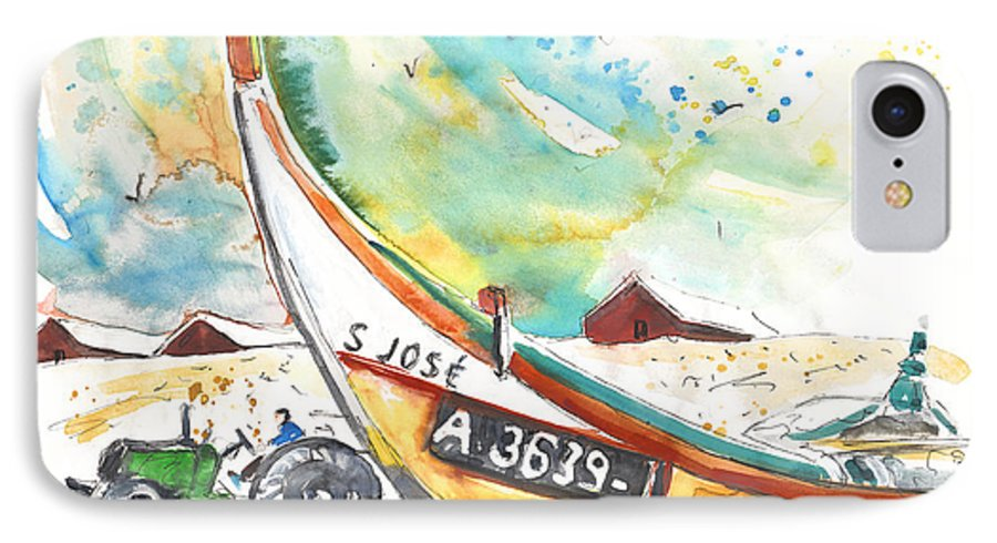 Portugal IPhone 7 Case featuring the painting Fisherboat In Praia De Mira by Miki De Goodaboom