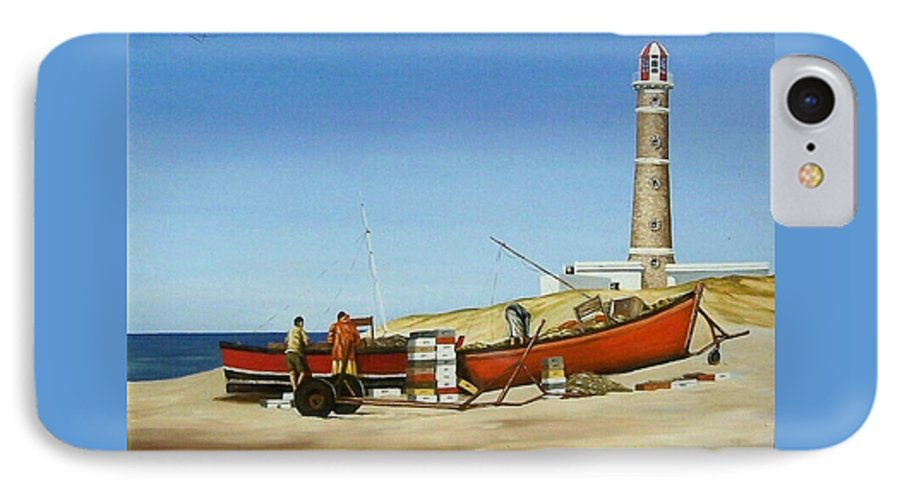 Lighthouse Fishermen Sea Seascape IPhone 7 Case featuring the painting Fishermen By Lighthouse by Natalia Tejera
