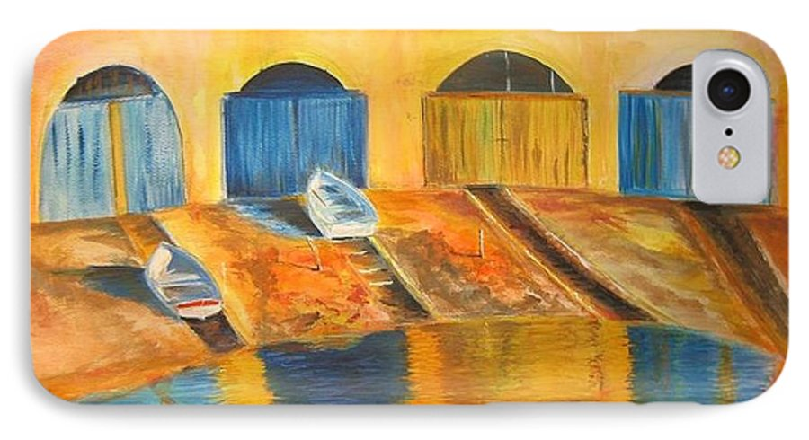 Boats IPhone 7 Case featuring the painting Fishermens Boats At Sundown by Lizzy Forrester
