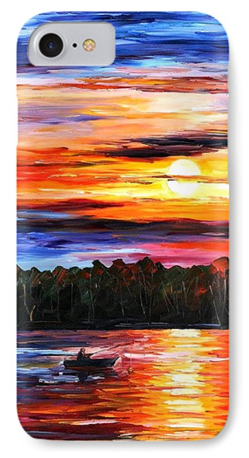 Seascape IPhone 7 Case featuring the painting Fishing By The Sunset by Leonid Afremov