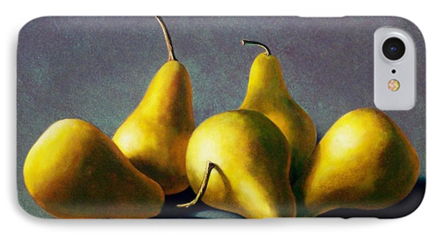 Still Life IPhone 7 Case featuring the painting Five Golden Pears by Frank Wilson