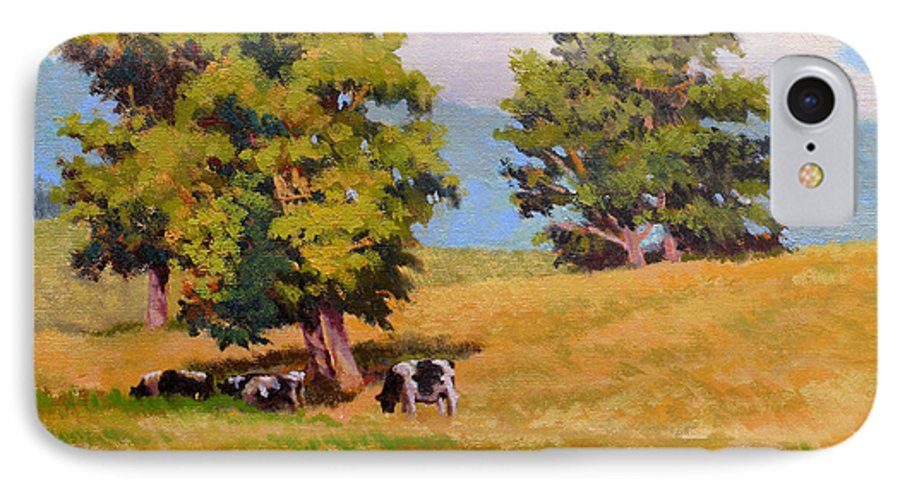 Landscape IPhone 7 Case featuring the painting Five Oaks by Keith Burgess