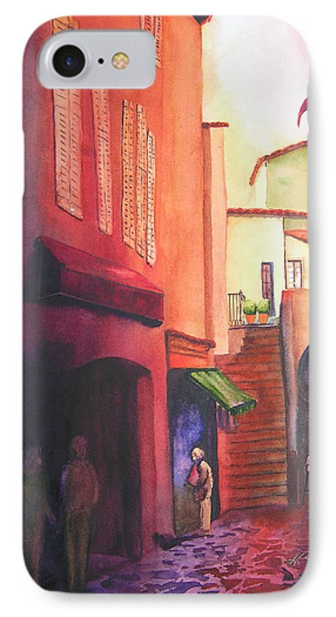 Europe IPhone 7 Case featuring the painting Flag Over St. Tropez by Karen Stark
