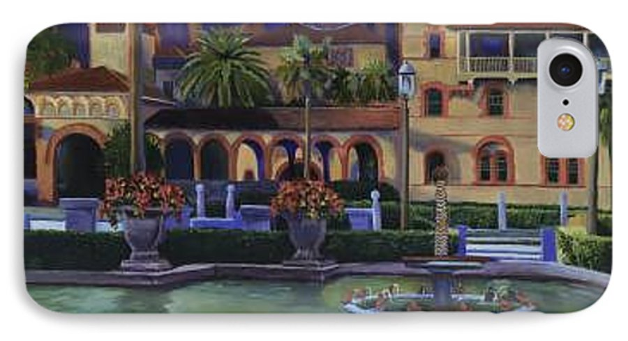 St. Augustine\'s Flagler College Campus IPhone 7 Case featuring the painting Flagler College II by Christine Cousart