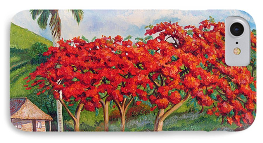 Cuban Art IPhone 7 Case featuring the painting Flamboyans by Jose Manuel Abraham