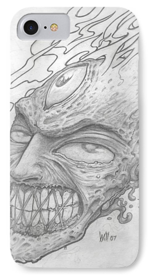 Zombie IPhone 7 Case featuring the drawing Flamehead by Will Le Beouf