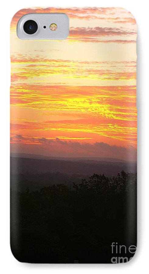 Sunrise IPhone 7 Case featuring the photograph Flaming Autumn Sunrise by Nadine Rippelmeyer