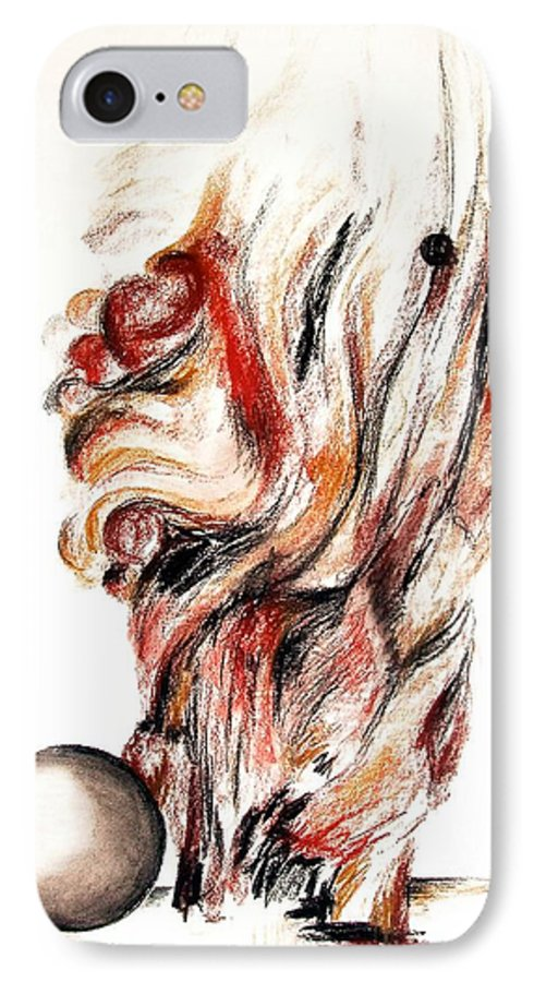 Still Life IPhone 7 Case featuring the drawing Flamme En Bois by Muriel Dolemieux