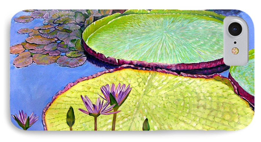 Garden Pond IPhone 7 Case featuring the painting Floating Galaxies by John Lautermilch