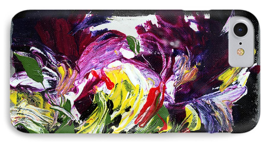 Abstract IPhone 7 Case featuring the painting Floral Flow by Mario Zampedroni
