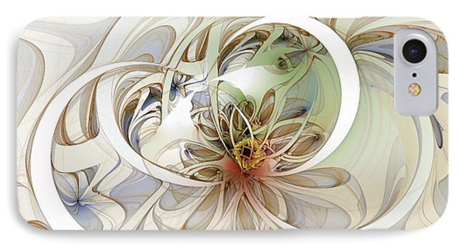 Digital Art IPhone 7 Case featuring the digital art Floral Swirls by Amanda Moore