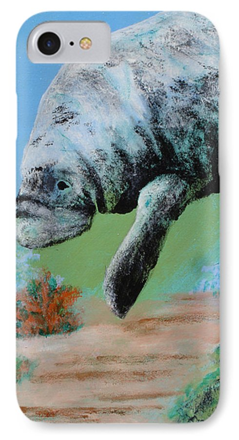 Florida IPhone 7 Case featuring the painting Florida Manatee by Susan Kubes