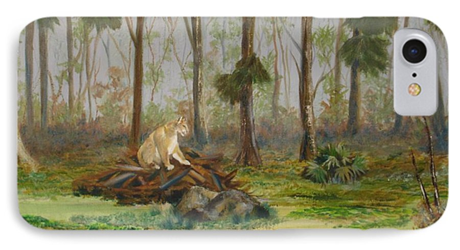 Florida IPhone 7 Case featuring the painting Florida Panther by Susan Kubes