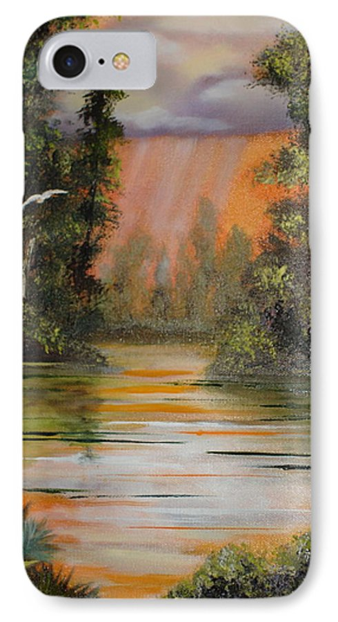 Landscape IPhone 7 Case featuring the painting Florida Thunderstorm by Susan Kubes