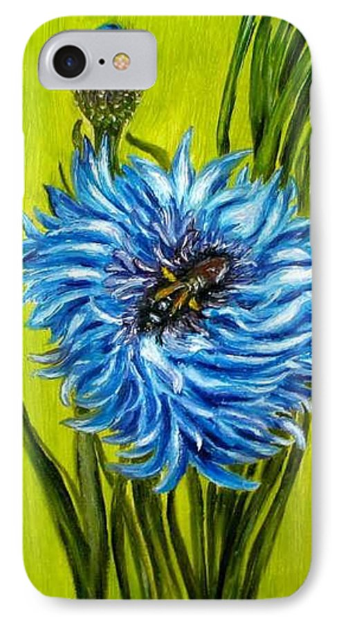 Flower IPhone 7 Case featuring the painting Flower And Bee Oil Painting by Natalja Picugina