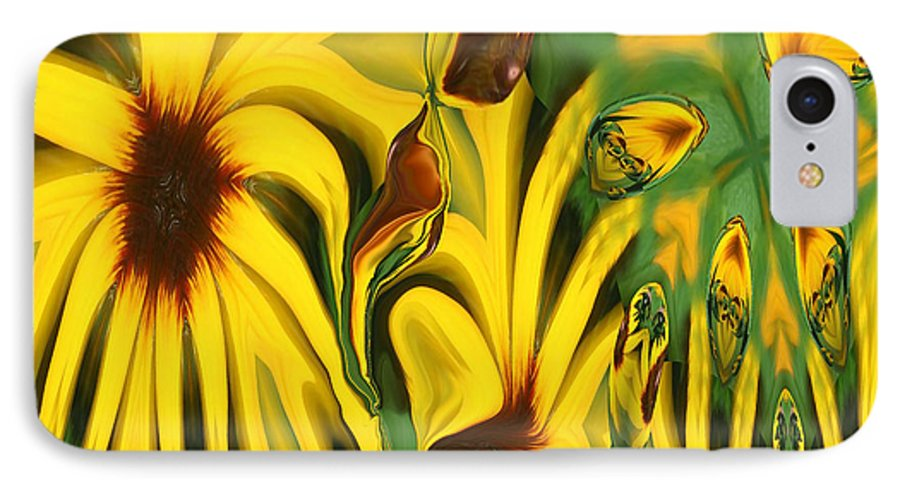 Abstract IPhone 7 Case featuring the photograph Flower Fun by Linda Sannuti
