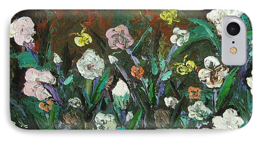 Abstract Paintings IPhone 7 Case featuring the painting Flower Garden by Seon-Jeong Kim