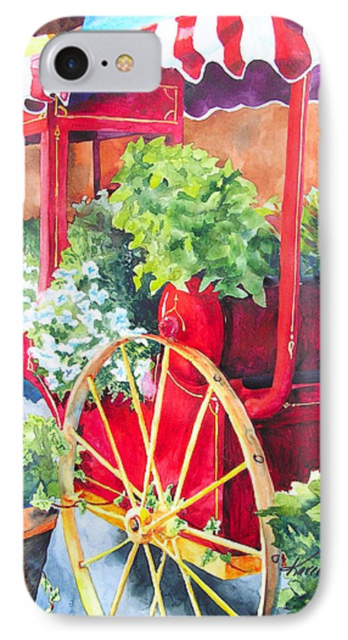 Floral IPhone 7 Case featuring the painting Flower Wagon by Karen Stark