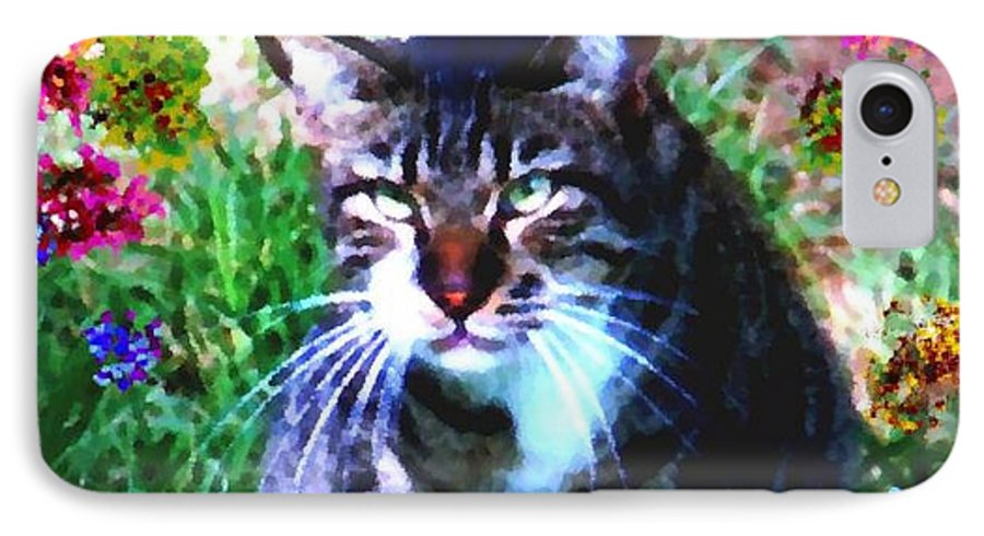 Cat Grey Attention Grass Flowers Nature Animals View IPhone 7 Case featuring the digital art Flowers And Cat by Dr Loifer Vladimir