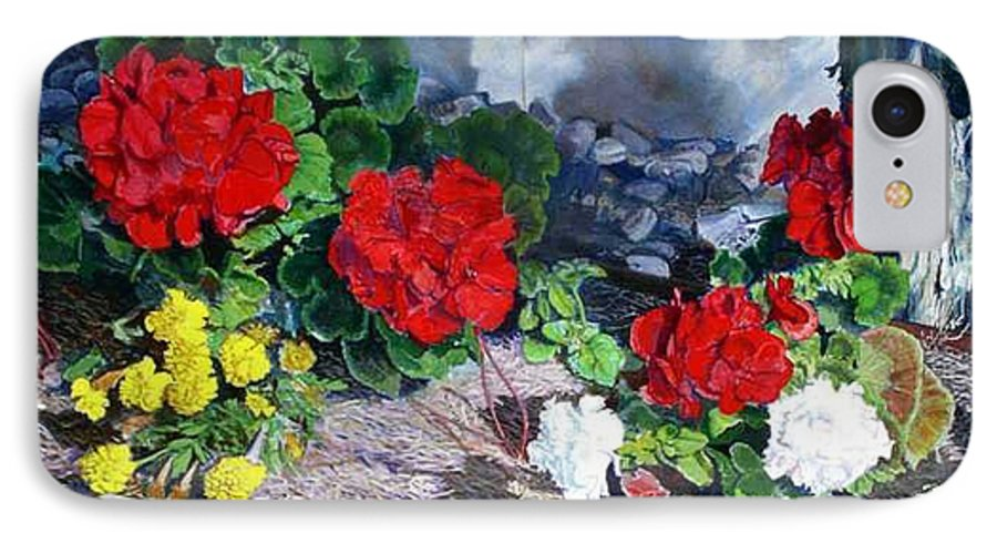 Colorful Flowers Outside Of The Church IPhone 7 Case featuring the painting Flowers At Church by Scott Robertson