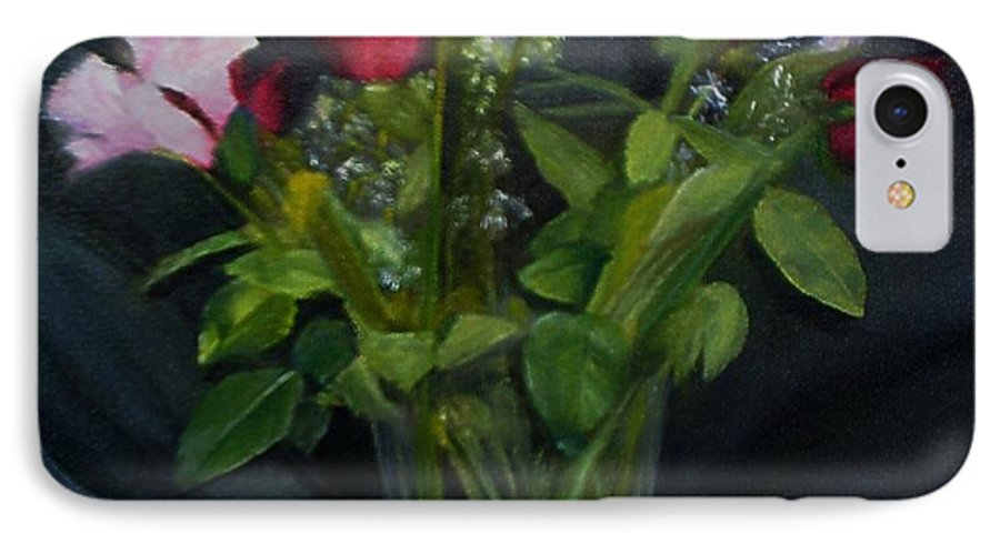 Flowers IPhone 7 Case featuring the painting Flowers For Sarah by Sheila Mashaw