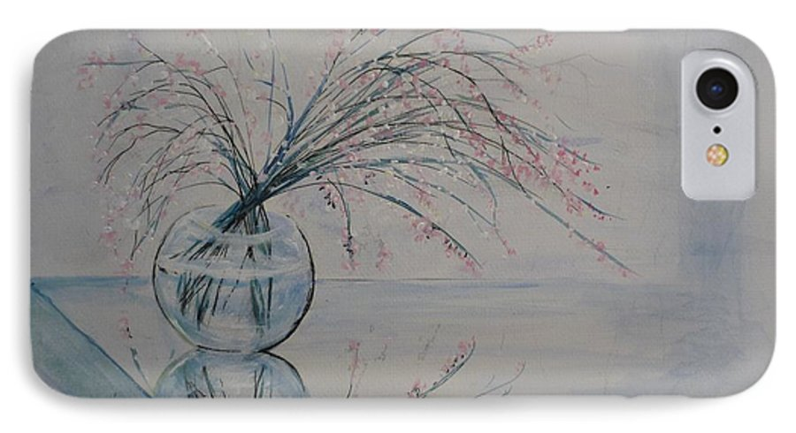 Reflection IPhone 7 Case featuring the painting Flowers Glass Water And Mirror by Lizzy Forrester
