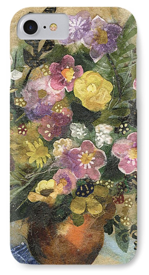 Limited Edition Prints IPhone 7 Case featuring the painting Flowers In A Clay Vase by Nira Schwartz