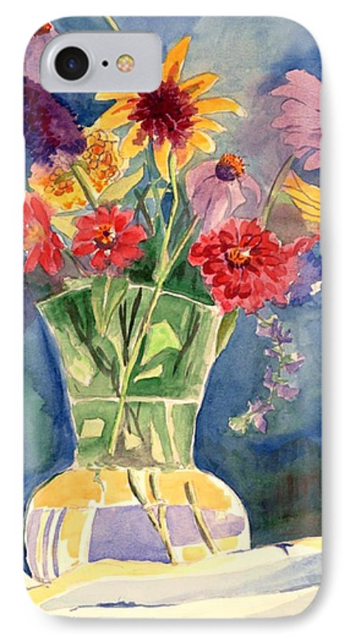 Flowers In Glass Vase IPhone 7 Case featuring the painting Flowers In Glass Vase by Judy Swerlick